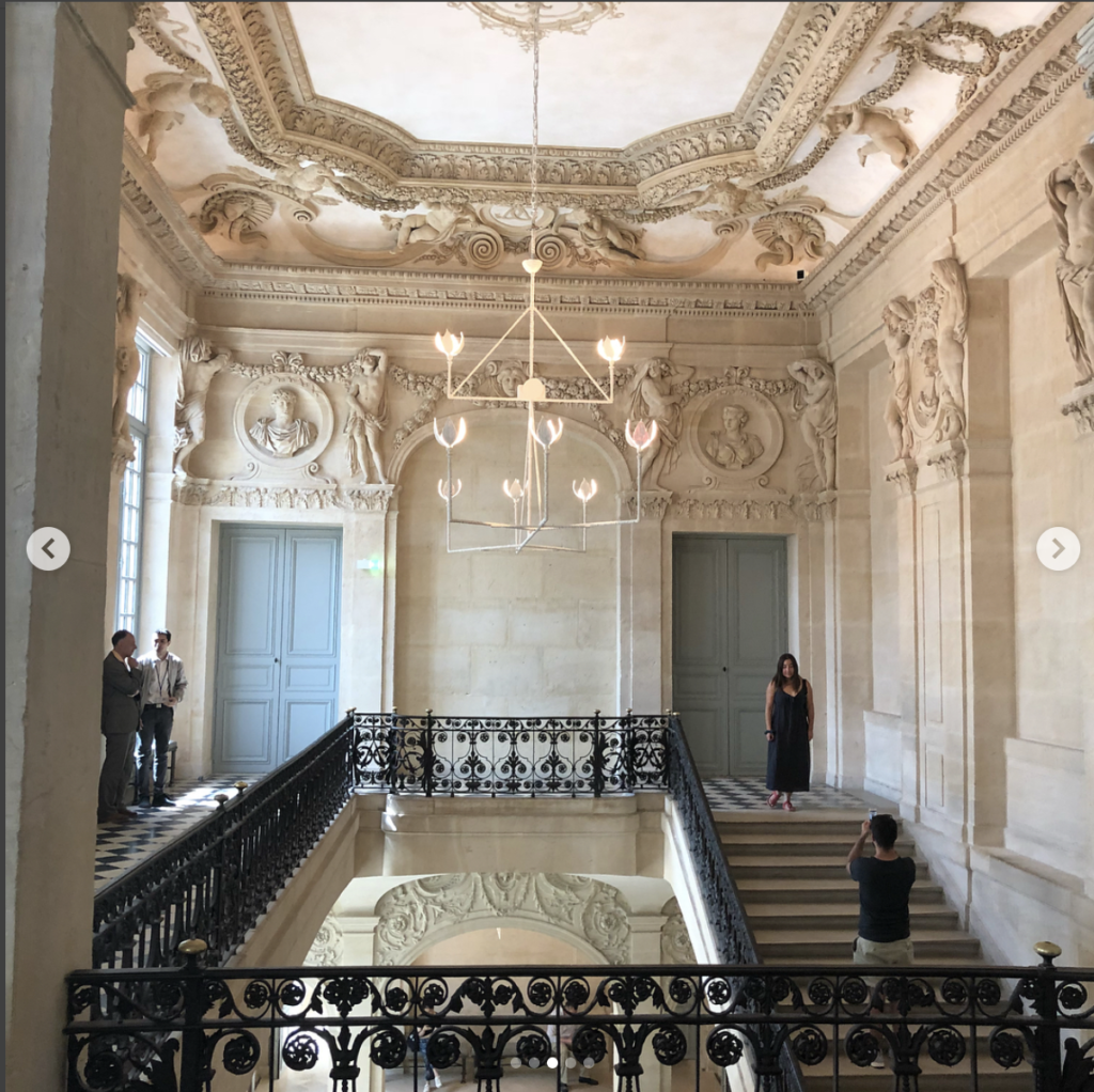 """Musee Picasso Paris. The mansion known as """"Hotel Sale """"was built in 1656 and renovated in 1986 to house Picasso's private collection. Diego Giacometti was invited to design all the lighting fixtures and furniture."""