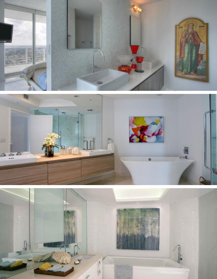 Statement art in bathroom design   Interior Designer Kevin Gray