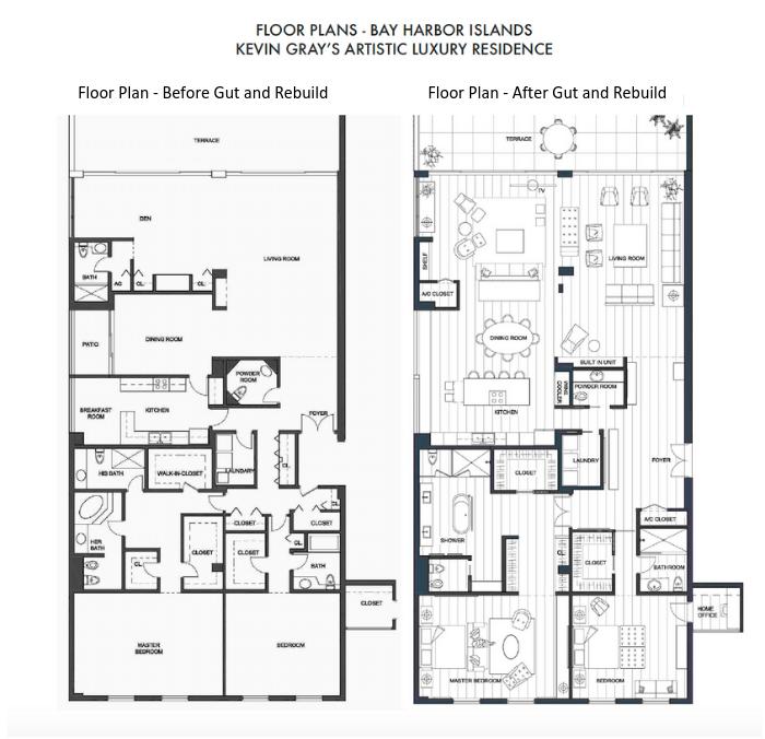Floor Plans | Bay Harbor Islands | gut rehab by interior designer Kevin Gray