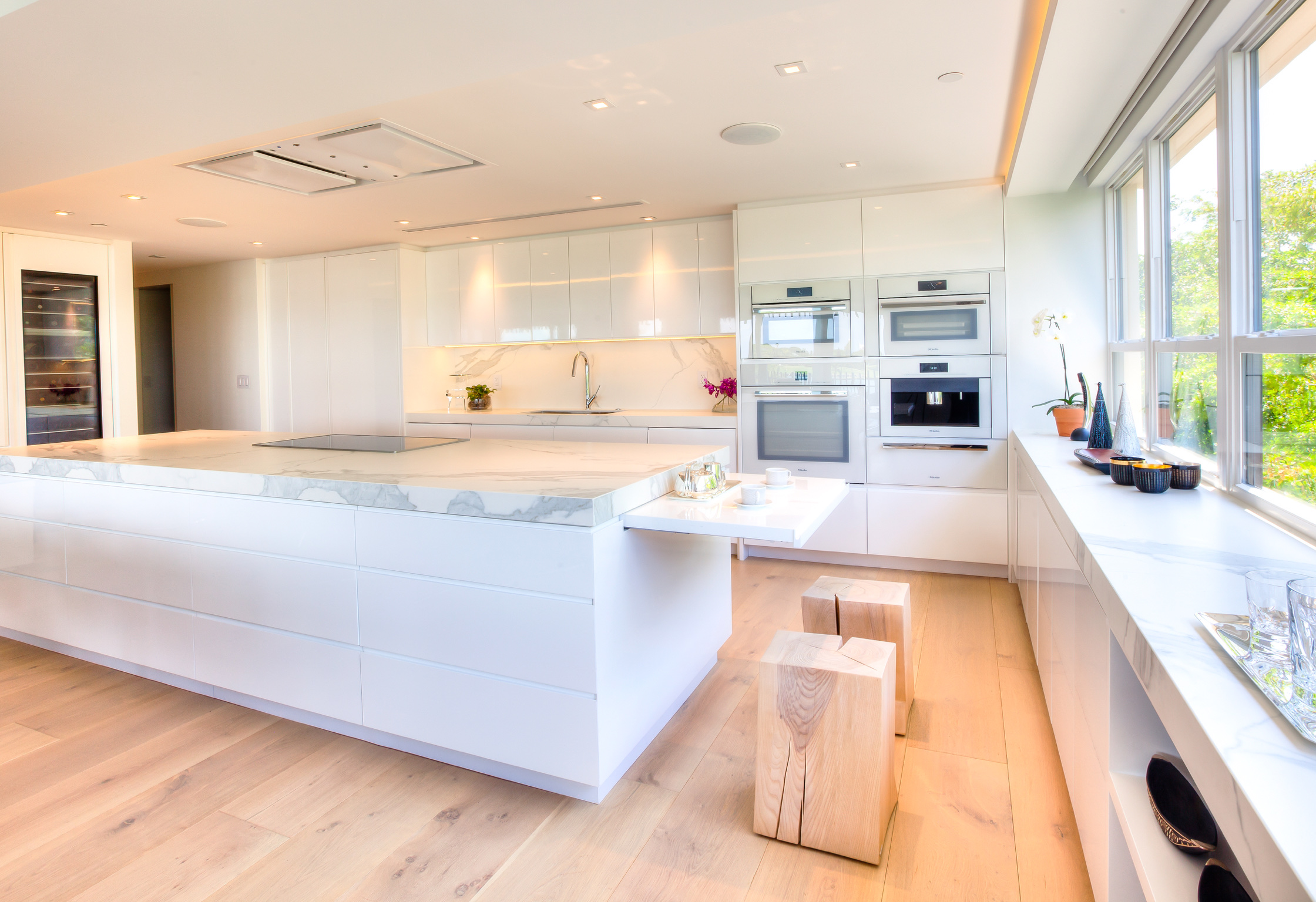 Kitchen island, oven and wine cooler