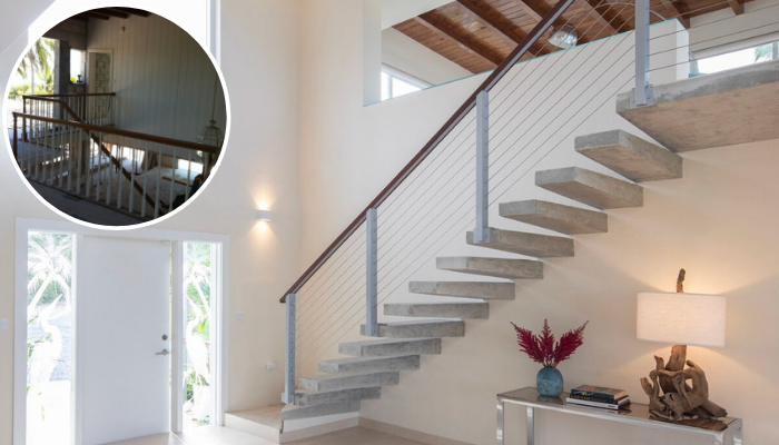 BEFORE & AFTER: Staircase of Tavernier Key Home Restored by Kevin Gray Design Featured on SoFlo Home | Interior Designer Kevin Gray